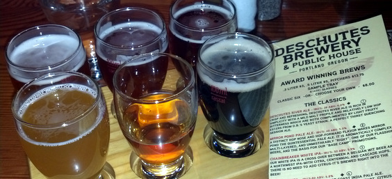 The Sample Tray at Deschutes Brewery - Portland, OR
