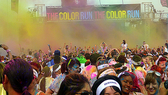 Color Powder Is Flying At The Finish Line Stage - Color Run 2013 - San Francisco, CA